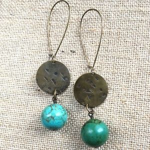 Turquoise and hammered brass medallion earrings